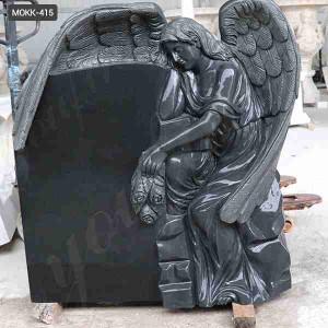 Hand Carved High Quality Black Granite Grave Angels Ornaments for Sale MOKK-415