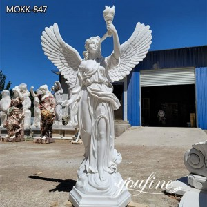 Hand Carved Marble Angel Statue Holding Torch Statue for Sale MOKK-847