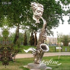 Hotel Garden Metal Saxophone Player Sculpture for Sale CSS-30