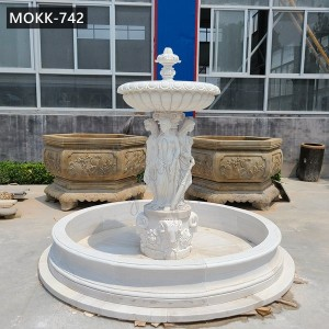 Outdoor 2-Tier Marble Lady Water Fountain for Garden Decor at Best Price MOKK-742