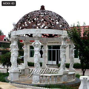Hand Carved White Marble Garden Gazebo with pergola design for Sale Supplier MOKK-83