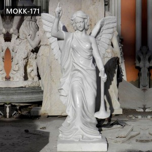 Life Size Hand Carved Marble Angel Statue Wing Sculpture Factory Supply MOKK-171