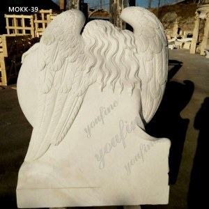 Hand carved Beloved Angel Marble Headstone with Heart Factory Supply MOKK-39