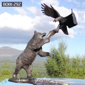 Garden Decorative Bronze Bear Statue with Eagle Fighting Fish for Sale BOKK-292