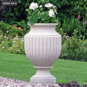 Hot Sale Round Marble Planter Pots for Garden Decor Supplier MOKK-54-4