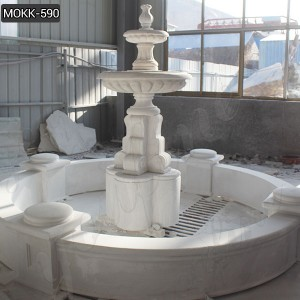 Classic 2 Tiered White Marble Water Fountains for Garden Decor Supplier MOKK-590