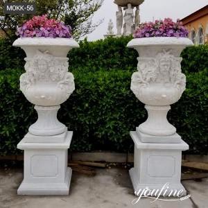 Classic Figures White Marble Flower Pot Garden Decor for Sale MOKK-56