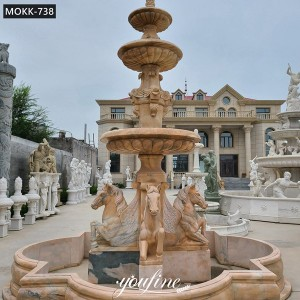 Large Outdoor Marble Water Fountain With Horse Statues for Sale MOKK-738