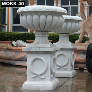 Large Outdoor Natural Marble Planter Manufacturer MOKK-40