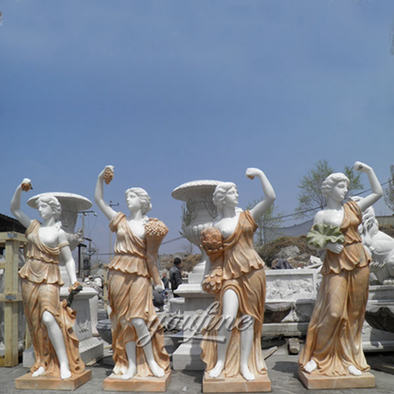 Life Size Hand Carved Four Season Maidens Sculpture White Marble Women Statue Design for Garden Decor for Sale