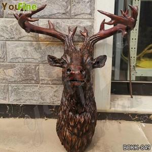 Antique Bronze Deer Head Statue for Home Decor for Sale BOKK-849